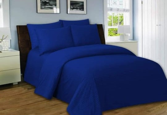 Navy Blue Bed Sheet With 2 Pillows
