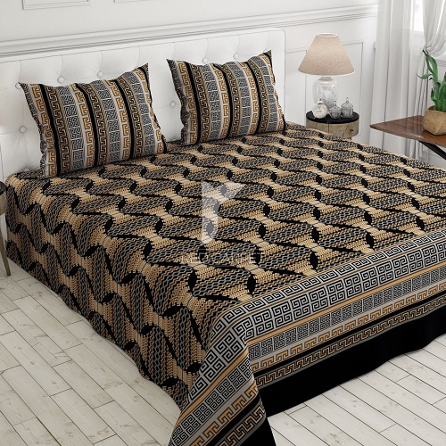 Black Printed Bed Set With 2 Pillow Covers – 3 PCS