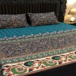 Blue Green Printed Bedding With 2 Pillow Covers – 3 PCS
