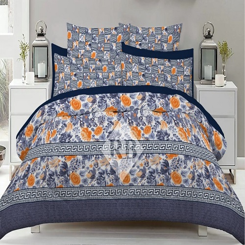Blue Sheets Printed With 2 Pillow Covers – 3 PCS