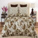 Brown Off White Design Lining Sheet With 2 Pillow Covers – 3 PCS