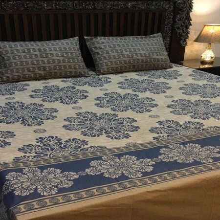 Dark Blue Brown Bed Set With 2 Pillows – 3 PCS