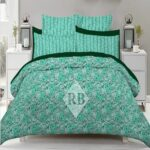 Green Printed Bedding Covers With 2 Pillows – 3 PCS