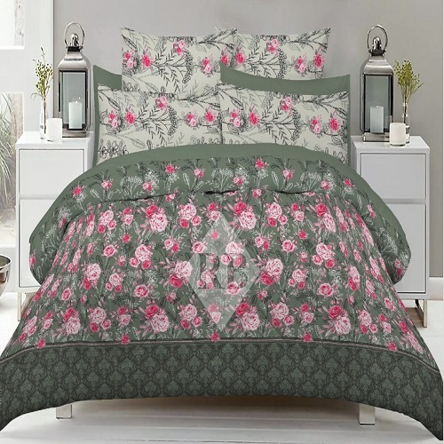 Green and Rose Bed Sheet With 2 Pillows