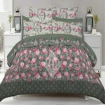 Green and Rose Comforter Set