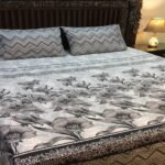 Grey White Printed Bedding Set With 2 Pillow Covers – 3 PCS