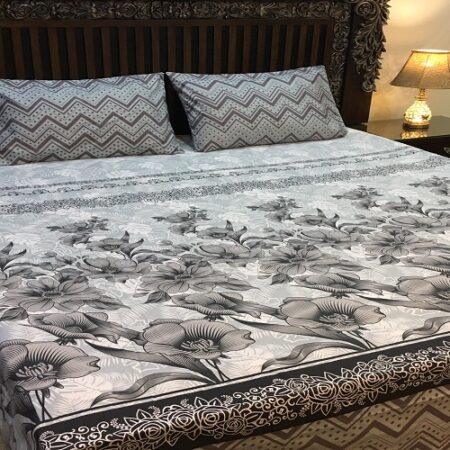 Grey White Printed Comforter Set