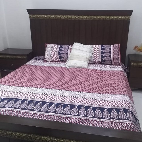Pink Blue White Printed Bed Sheets With 2 Pillows