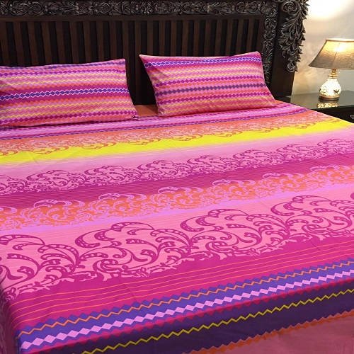 Pink Yellow Blue Sheet With 2 Pillow Covers – 3 Pcs
