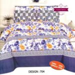 Purple Flower Printed Bed Sheet With 2 Pillow Covers – 3 PCS