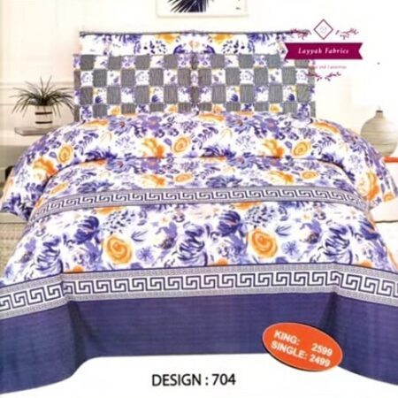 Purple Flower Printed Comforter Set