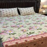 Purple Green Red Printed Leaf Bedding Cover With 2 Pillows – 3 PCS
