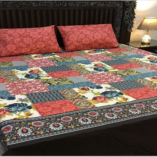 Red Printed Bed Set With 2 Pillow Covers – 3 PCS