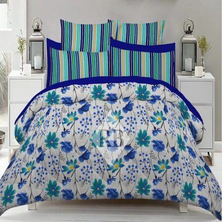 Sky Blue Bedding With 2 Pillow Covers – 3 PCS