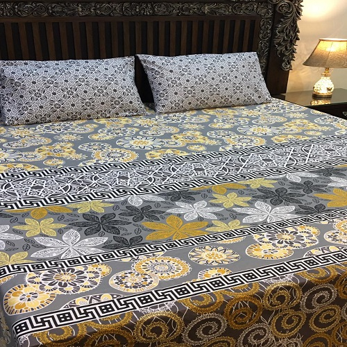 Yellow And Grey Color Cover With 2 Pillows – 3 PCS