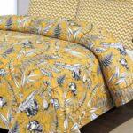 Yellow Printed White Comforter Set ( 6 PCS – 8 PCS )