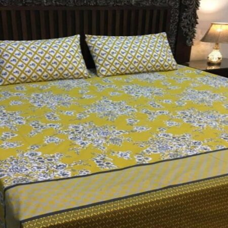 Yellow and White Bedding With 2 Pillow Covers – 3 PCS