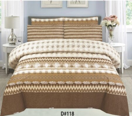 Brown Off White Bed Set With 2 Pillow Covers