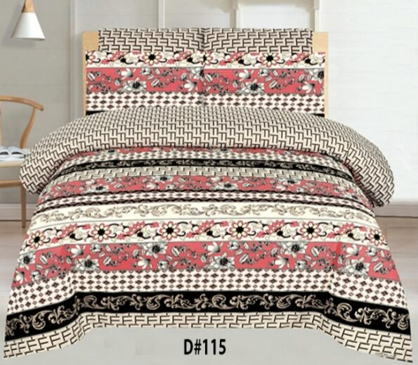 Red Black Border Bed Sheet With 2 Pillow Covers