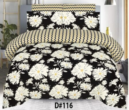 White Flower Black Background Bed Sheets