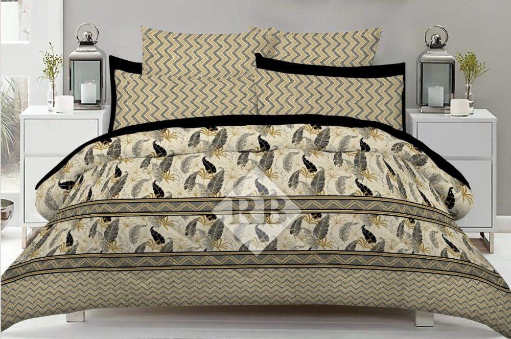 Black Grey Leaf Printed Comforter Set ( 6 PCS - 8 PCS )