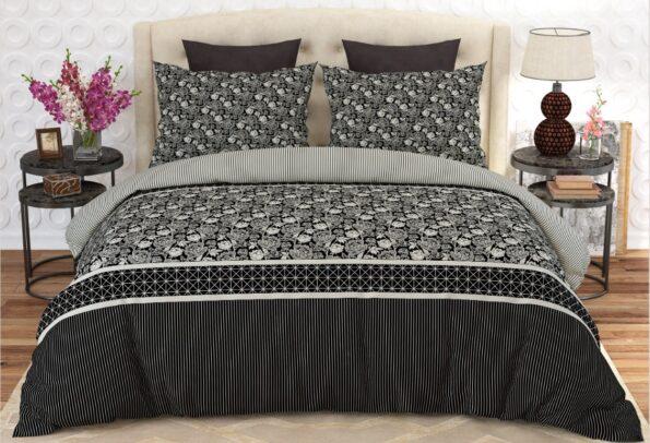 Black Grey Printed Comforter Set ( 6 PCS – 8 PCS )