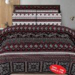 Black Red Printed Comforter Set ( 6 PCS – 8 PCS )