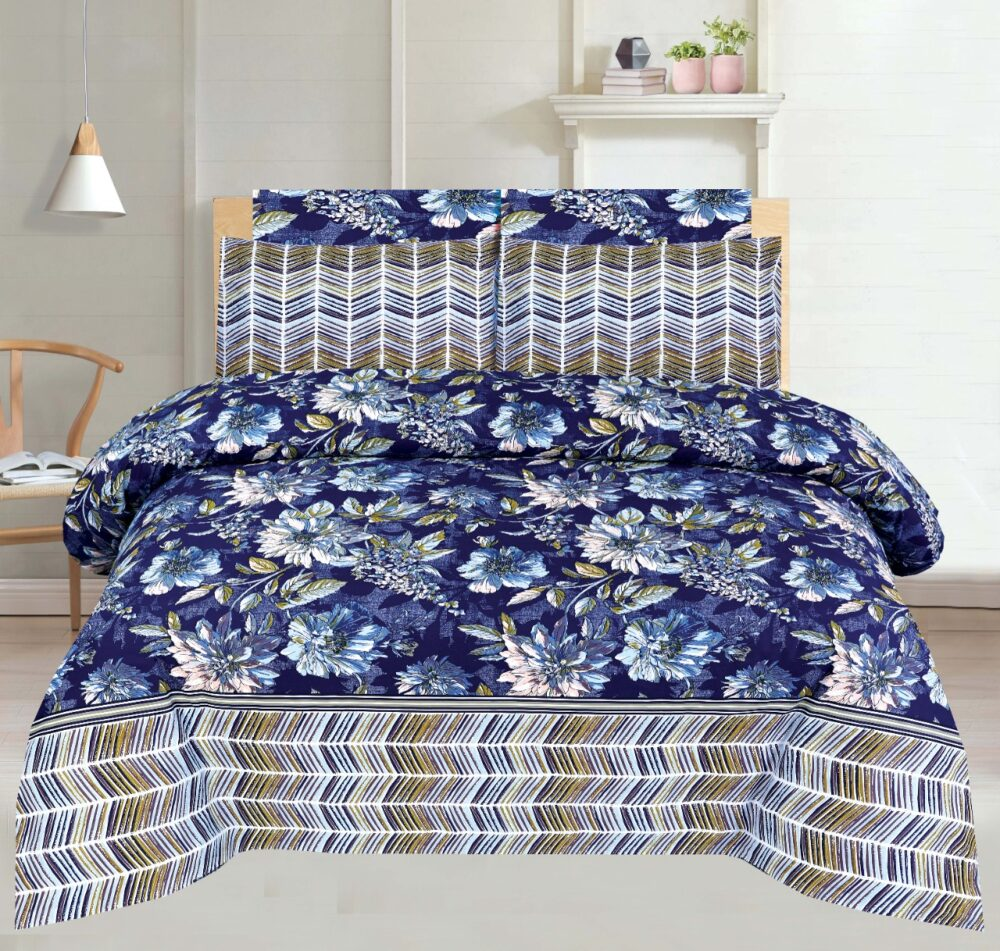 Blue Dyed Print Bed Sheet With 2 Pillow Covers – 3 PCS