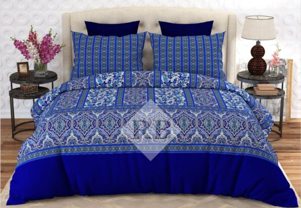 Blue Printed Bedding Sets With 2 Pillow Covers – 3 PCS