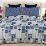 Blue White Box Bed Sheet With 2 Pillow Covers – 3 PCS