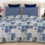 Blue White Box Comforter Set