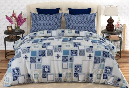 Blue White Box Comforter Set