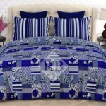 Blue White Printed Bed Sheet With 2 Pillow Covers – 3 PCS