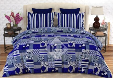 Blue White Printed Comforter Set