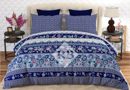 Blue Bed Sheet With 2 Pillow Covers – 3 PCS
