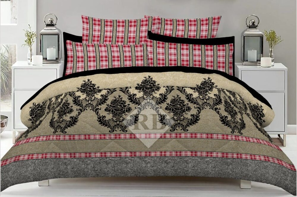 Brow Grey Dotted Red lining Comforter Set ( 6 PCS - 8 PCS )