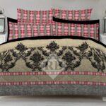 Brow Grey Dotted Red lining Comforter Set ( 6 PCS – 8 PCS )