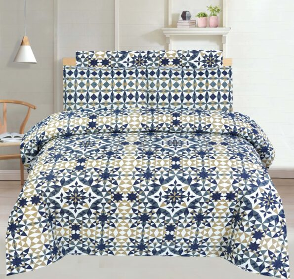 Brown Blue Pattern Bed Sheet With 2 Pillow Covers – 3 PCS
