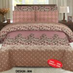 Brown Pink Bed Sheet With 2 Pillow Covers – 3 PCS