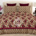 Brown Pink Flowers Bedding With 2 Pillow Covers – 3 PCS