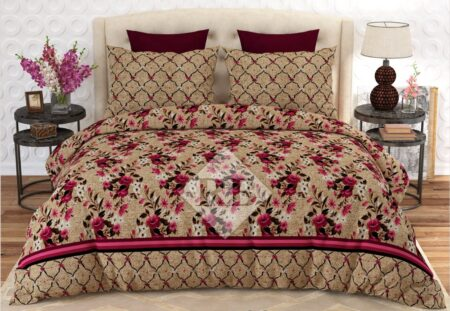 Brown Pink Flowers Comforter Set