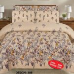 Brown Print Bed Sheet With 2 Pillow Covers – 3 PCS
