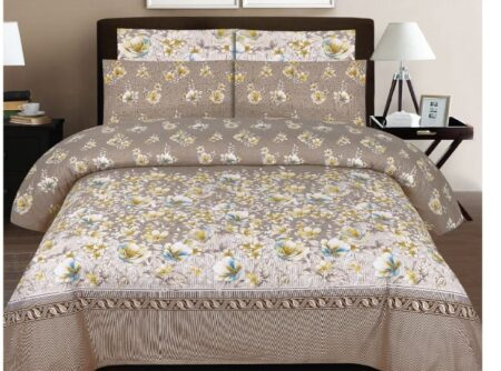 Brown Printed Bedding Comforter Set ( 6 PCS – 8 PCS )
