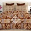 Brown Printed Box Bed Sheet With 2 Pillow Covers – 3 PCS