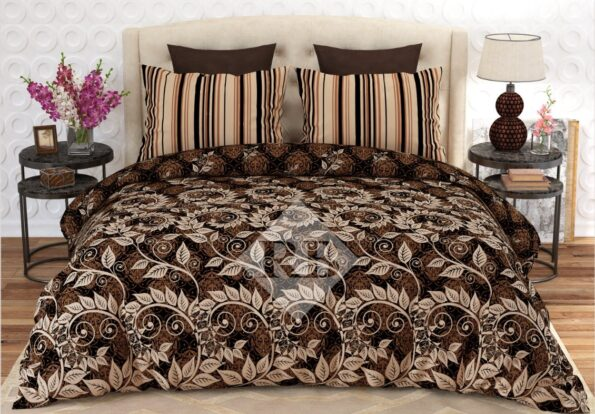 Dark Brown Printed Bed Sheet With 2 Pillow Covers – 3 PCS