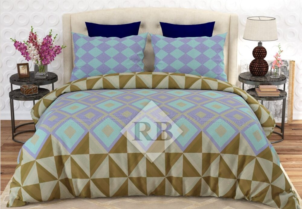 Ferozy Purple Brown Bedding With 2 Pillow Covers – 3 PCS