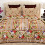 Flowers Linning Printed Bed Sheet With 2 Pillow Covers – 3 PCS