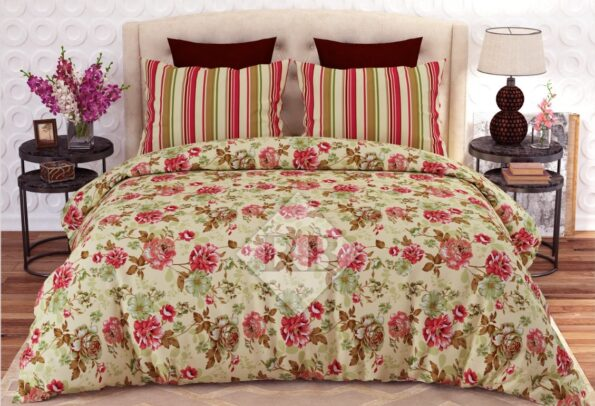 Flowers Printed Bed Sheet With 2 Pillow Covers – 3 PCS