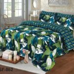 Green Leaf Bedding With 2 Pillow Covers – 3 PCS