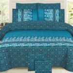 Green Pattern Bed Sheet With 2 Pillow Covers – 3 PCS